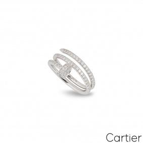 Cartier White Gold Diamond Juste Un Clou Ring Size 46 B4211100